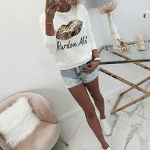 Women's T shirt Long Sleeves Autumn Winter Ladies Casual Lip
