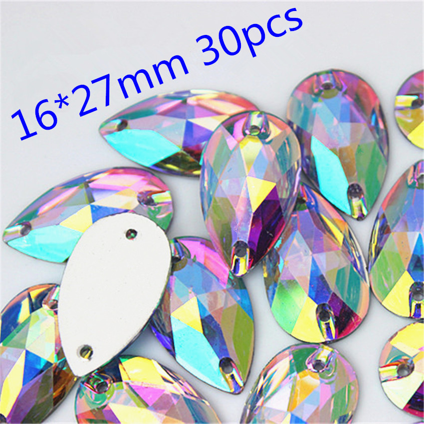 Crystals AB Rhinestones trim Flat Back sewing 2 Hole Stones Resin Beads For DIY