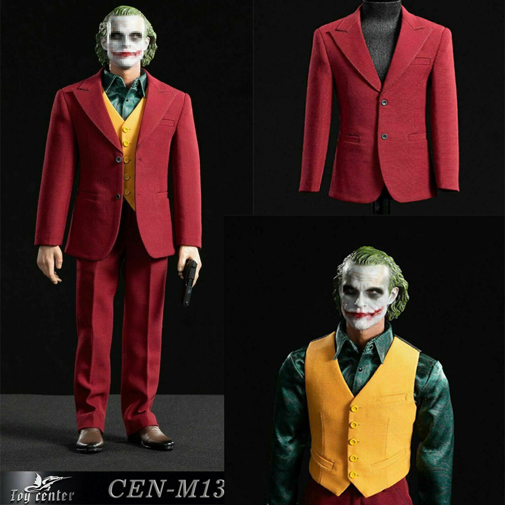 1/6 Joker Suit Set Comedian Joker Clown Joaquin Toy Center CEN-M13  Exclusive Red Suit Clothes Accessory
