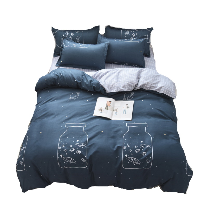 Bedding-Set Pillowcase Duvet-Cover Bed-Sheet Family-Set Flat Luxury Wishing Boy 3/4pcs