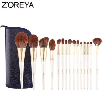 Zoreya Brand 15pcs White Makeup Brushes Soft Synthetic Fiber Highlighter Eye Shadow Powder Cosmetic Set Blend Eyelash Eyebrow