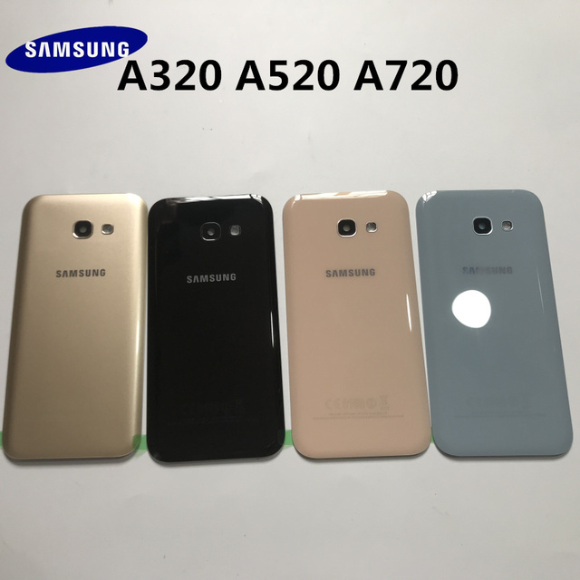 Original Back Glass For SAMSUNG Galaxy A3/A5/A7 2017 A320 A520 A720 Back Battery Glass Cover Rear Door Housing Case Replacement 2