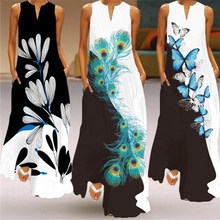 Women Elegant Print Sleeveless Long Dress Plus Size Loose Casual Vintage Maxi Dress Summer Beach Party Dress Boho Clothing