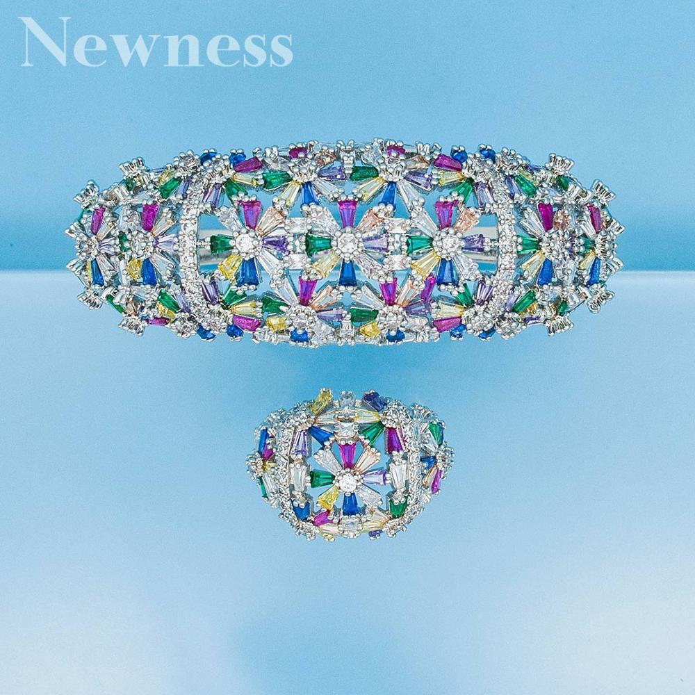 Newness Wide Luxury Tennis Bangle Ring Sets For Women Wedding Cubic Zircon Crystal Engagement DUBAI Bridal Jewelry Sets