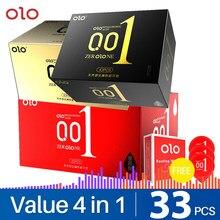 Olo 001 preservativos não látex premium fino silicone preservativo para homens atraso ejaculação feminino para sexo longo 33 pcs brinquedos sexuais para casais
