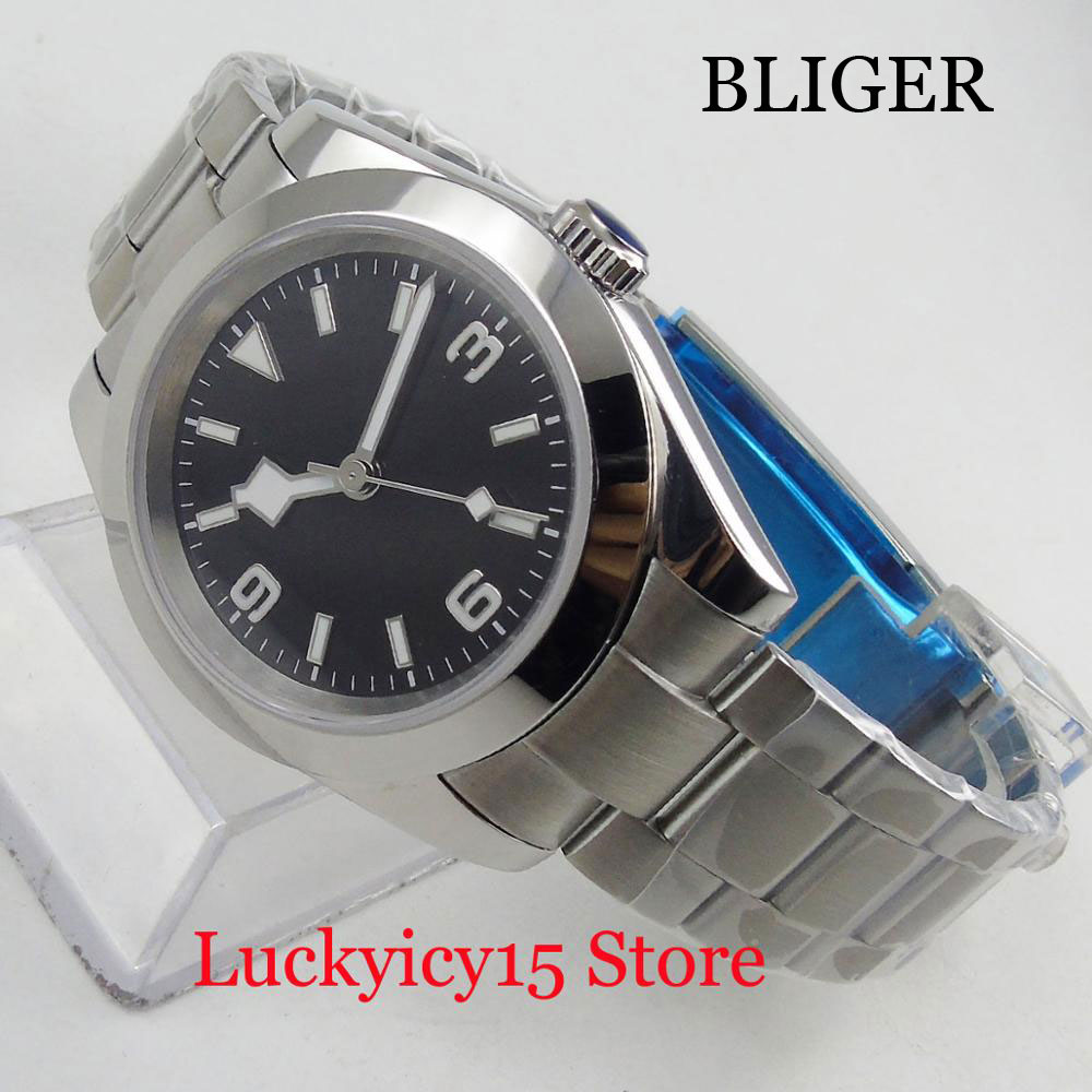BLIGER High Quality Dress 40mm Automatic Men's Watch Polished Watch Case Sterile Dial Mental Strap