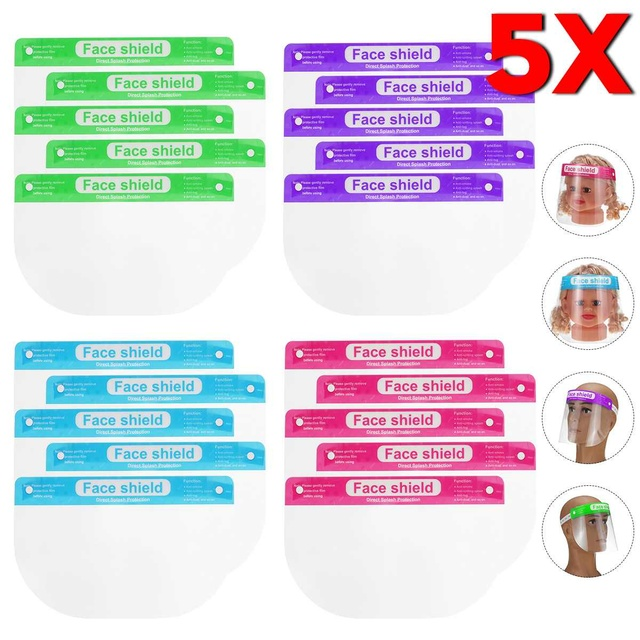 5/10pcs Children Kids Full Face Shield Mask Protective Visor Face Mask Plastic Anti Splash Anti saliva Dustproof Full Face Cover 1