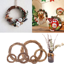 1pc Natural Rattan Wreath 12-25cm Christmas Party Wedding Wreaths Decoration Garland DIY Crafts Gift