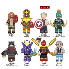 8pcs Set Super Heroes Jubilee Fierstar Red Lanterns Spider-man Iron man Building Blocks Bricks Children Gifts Toys