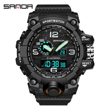 SANDA Military Army Mens Watch 30m Waterproof Sport Watch Dual Time Analog Automatic Watches Male Shock Digital Watches Gifts ohsen men shock resistant sports watch quartz hour digital watch military 30m waterproof silicone strap led dual time wristwatch
