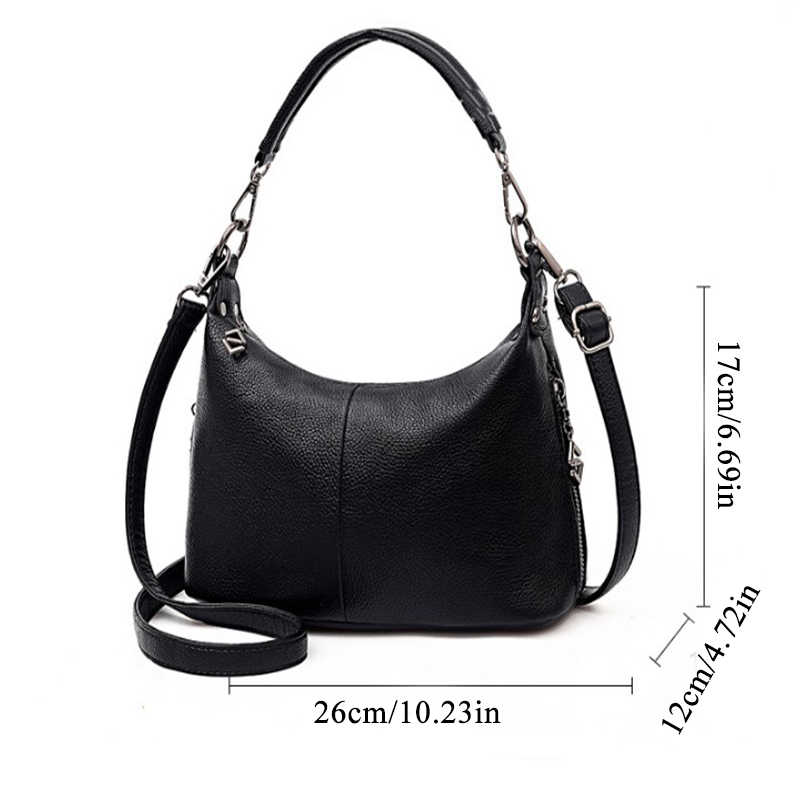 2020 Fashion Tas Selempang untuk Wanita Hitam Lembut PU Kulit Tas Bahu Warna Solid Messenger Tas Kecil dengan Penutup Bolsa feminina