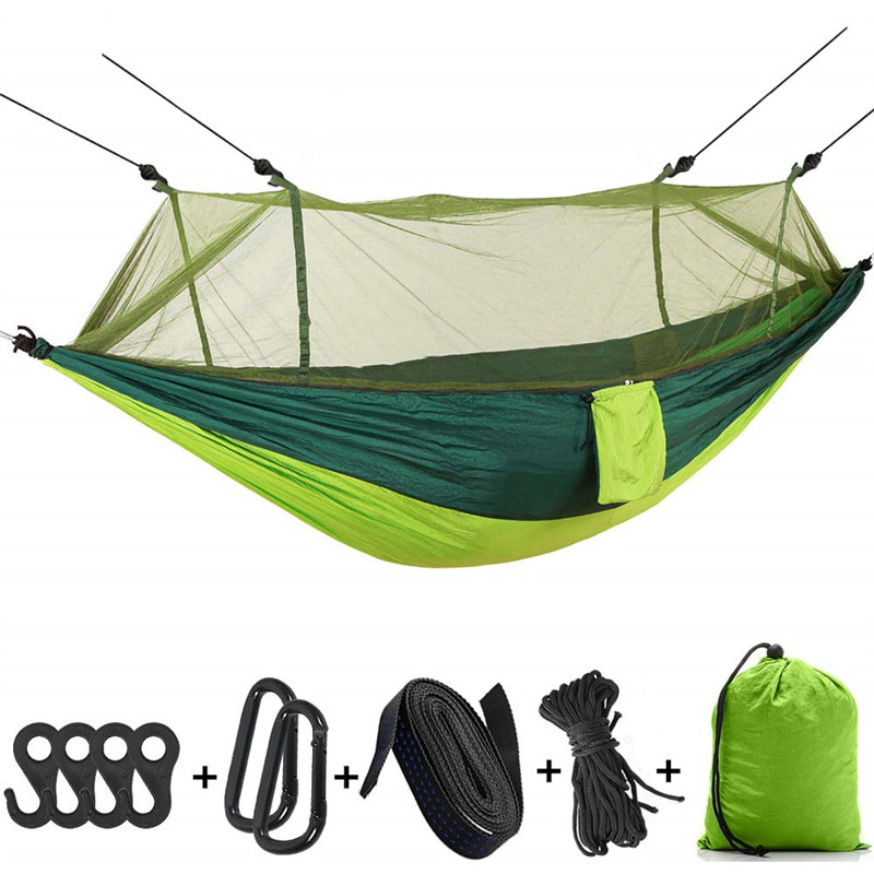 Outdoor Portable Camping Hammock Chair With Mosquito Net Hanging Hammock Swing Green Stitching Color