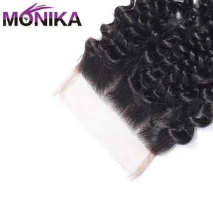 Image 5 - Monika Hair Peruvian Closure Kinky Curly Closure Human Hair Lace Closure 4x4 Free/Middle/3 Part Hair Weave Closures Non Remy