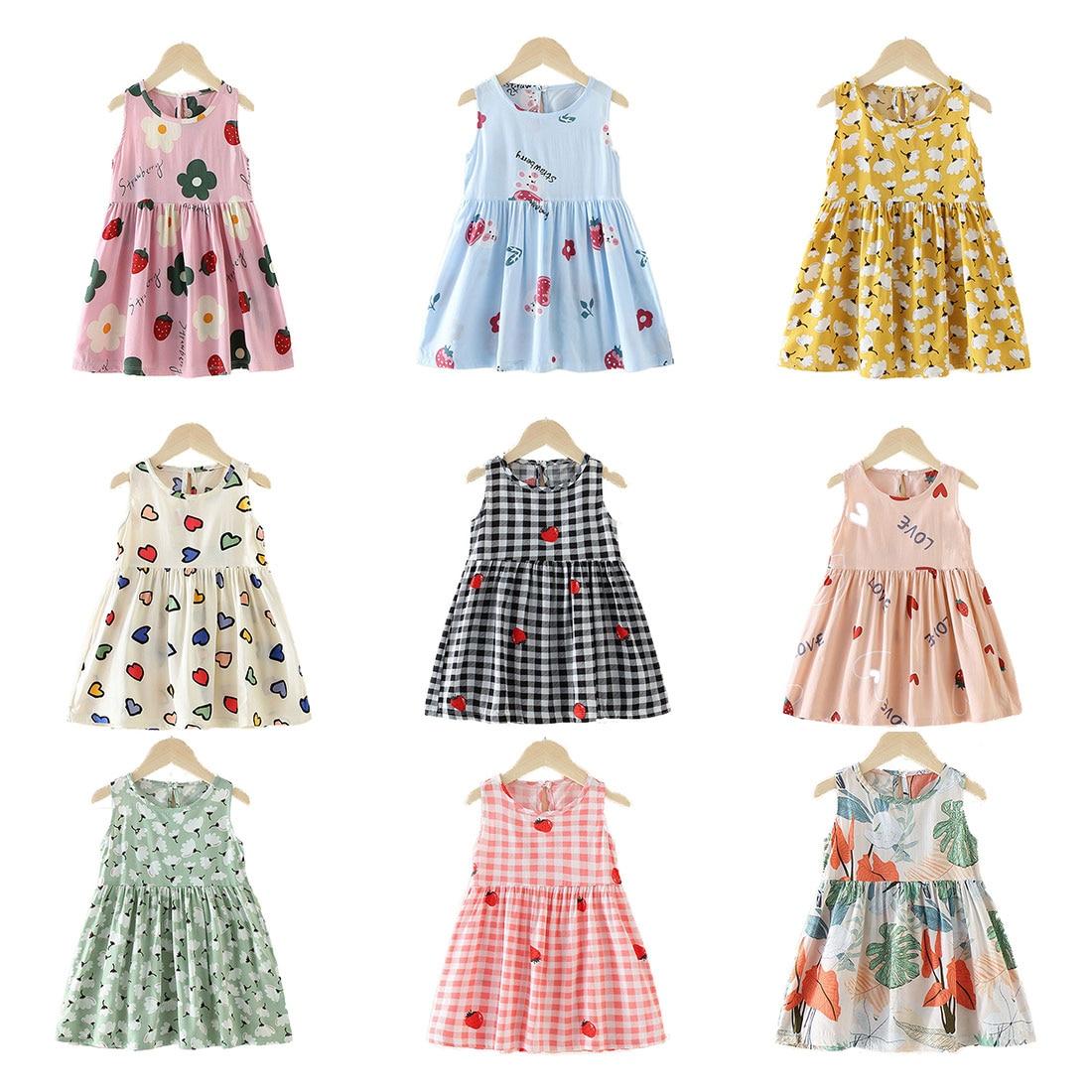 1 2 3 4 5 6 7 8 Years Summer Girl Princess Dress Cotton Cherry Dresses Polka Dot Kids Dresses for Girls Children Clothing