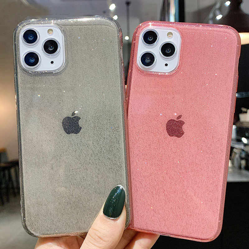 Moskado Bling Glitter Transparante Telefoon Gevallen Voor Iphone 11 11Pro Max X Xr Xs Max 7 8 6 6 S plus Clear Solid Soft Tpu Back Cover