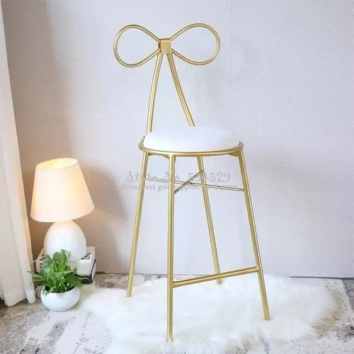 30%1Nordic Simple Modern Bar Stool Gold Wrought Iron Dining Chair Living Room Lounge Chair Dining Chair Cafe Bar Stool Bar Chair