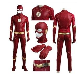 Fantasia adulto masculino flash vermelho, uniforme a estação flash 4 barry allen flash cosplay carnaval fantasias de festa de halloween