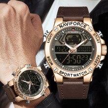 Naviforce นาฬิกาผู้ชาย 2019 แบรนด์ Luxury Dual แสดงผล Mens ธุรกิจชายนาฬิกาผู้ชายนาฬิกาข้อมือบุรุษนาฬิกายี่ห้อ