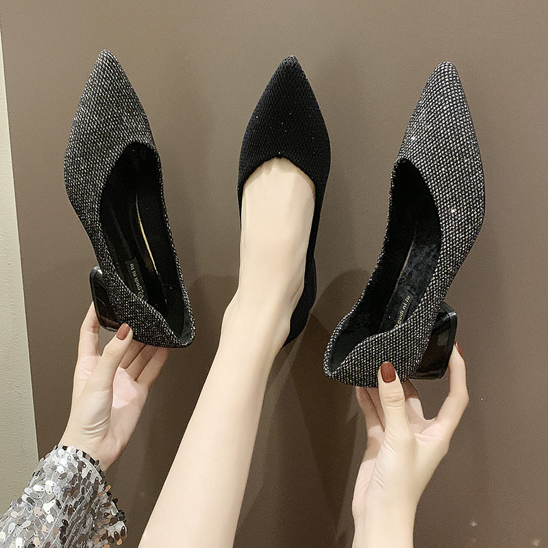 Single-Shoes Professional Wind-Pointed Women Small Tide Fragrance Sequin-Cloth Thick