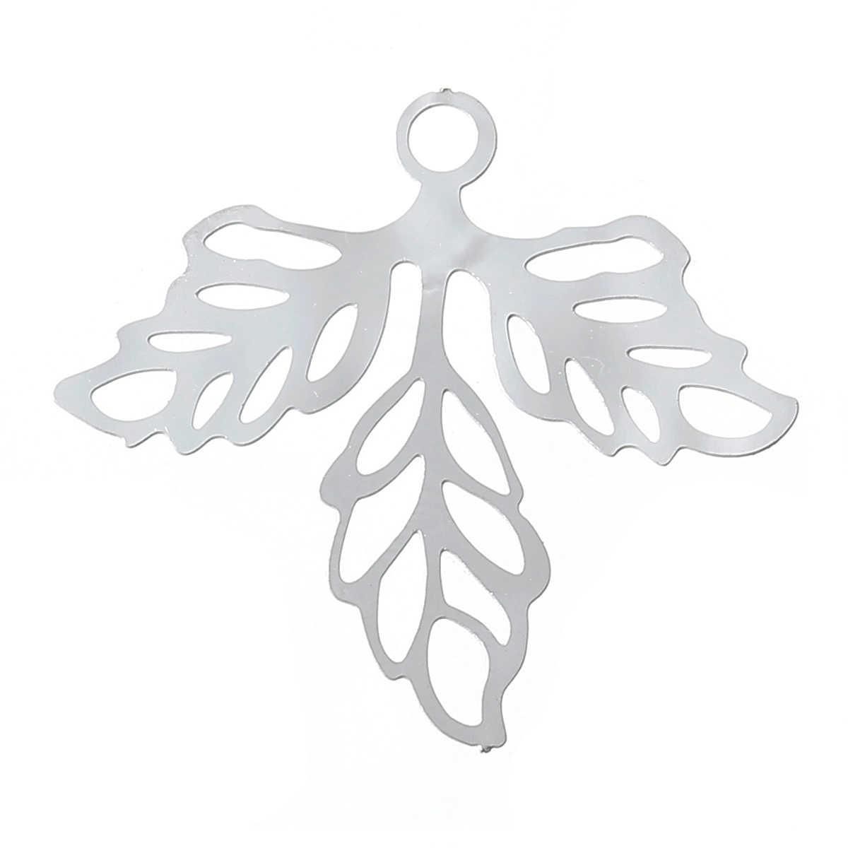 "DoreenBeads Filigree สแตนเลสจี้ Leaf Silver Tone Hollow 25 มม.(1 "") x 23 มม.(7/8 ""),2 ชิ้น 2017 ใหม่"