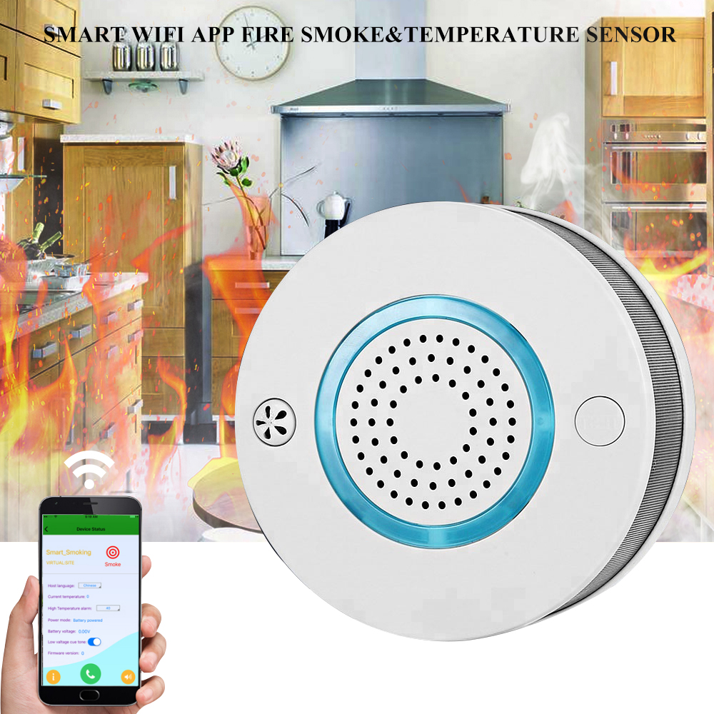 Güvenlik ve Koruma'ten Karbon Monoksit Dedektörleri'de WiFi duman + ısı detektörü bağımsız Alarm kablosuz yangın koruma duman sensörü ev güvenlik yangın ekipmanları akıllı APP kontrol title=