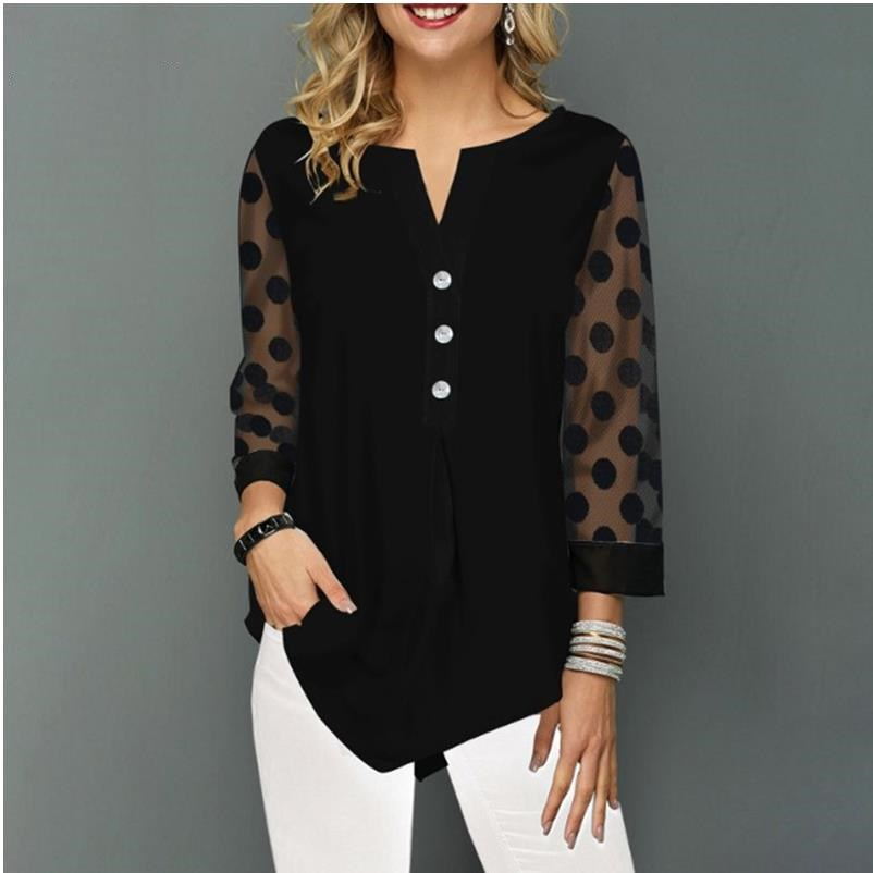 Shirt Blouse Plus Size 5xl Solid Black Tops V-neck Button Splice Mesh Nine Points Sleeve Spring Summer Casual Loose Women Shirt