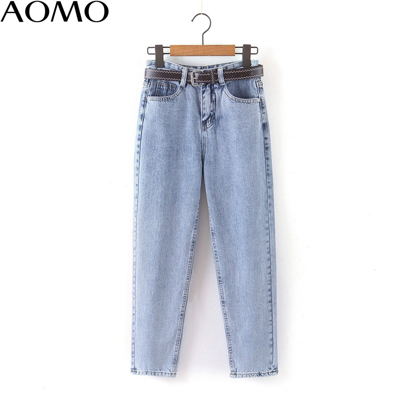 AOMO 2020 Fashion Women Mom Jeans Pants With Belt Long Trousers Strethy Waist Pockets Zipper Female Pants HY41A
