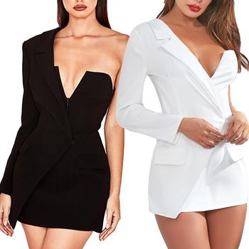 Hot summer Sexy Women Deep V Neck Long Sleeve One Shoulder Asymmetrical Mini Blazer Dress Shoulder Asymmetrical Blazer Dress фото