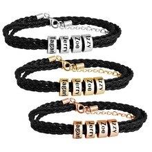 MYLONGINGCHARM Personalized  Titanium Steel Leather Braided Bracelet,Custom Name Men Bracelet, Steel Gold Rosegold Beads colors chic embellished titanium steel bracelet for men