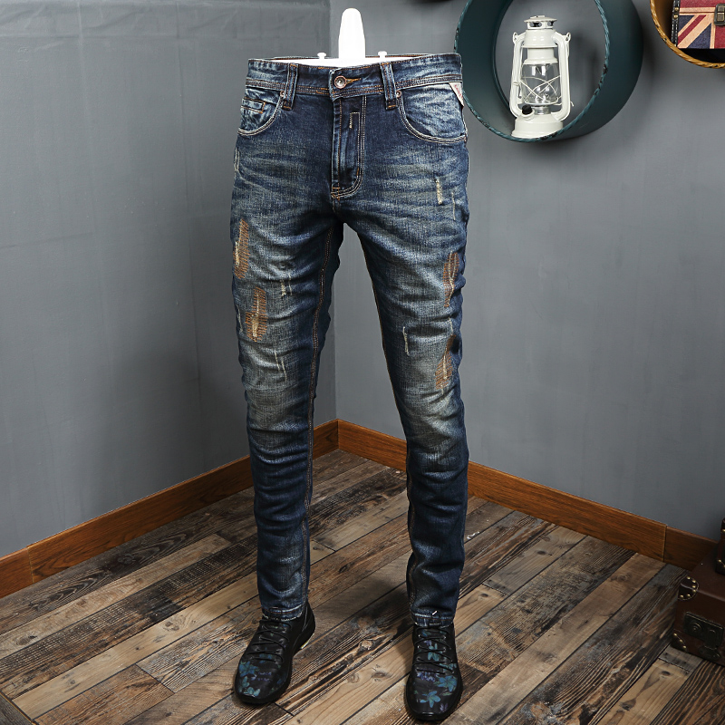 Fashion Streetwear Men Jeans Embroidery Designer Slim Fit Ripped Jeans High Quality Retro Blue Destroyed Hip Hop Jeans Men