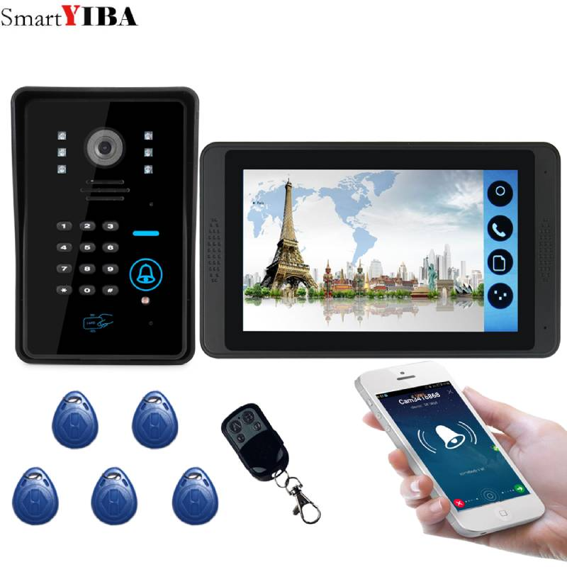 7 Inch Wired Wifi RFID Access Door Phone Intercom Kits Password Code Keypad IR Camera Video Door Bell For Home Security System