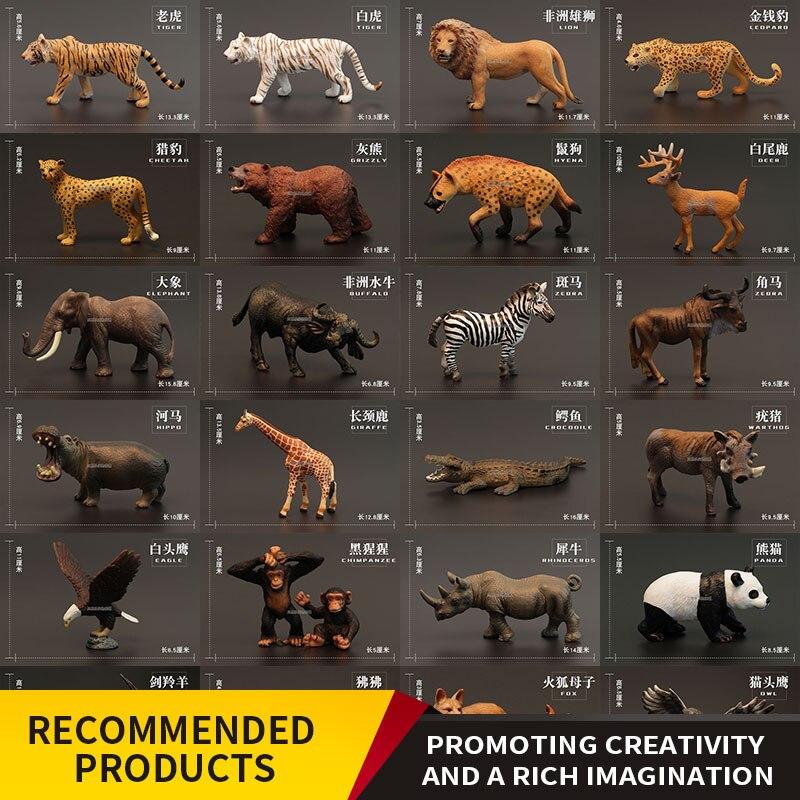 Toy Crocodile Panda Lion-King Rhinoceros Zebra Model-Set Animal-Toy Simulation Gift Child