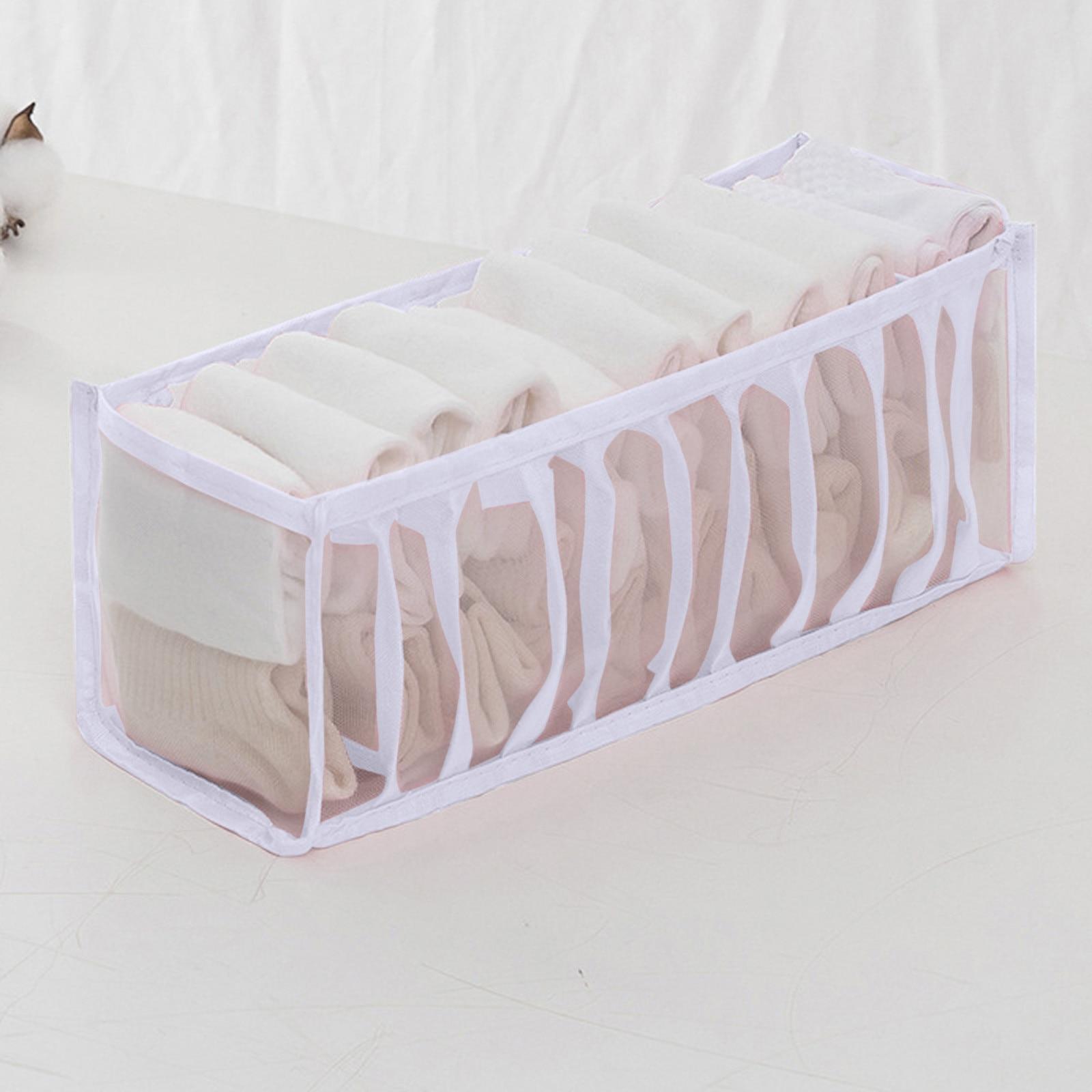 2 pçs 3 cores 11 grades casa dobrável malha underwear caixa de armazenamento meias sutiã e calcinha quarto gaveta treliça arrumada caixa de armazenamento
