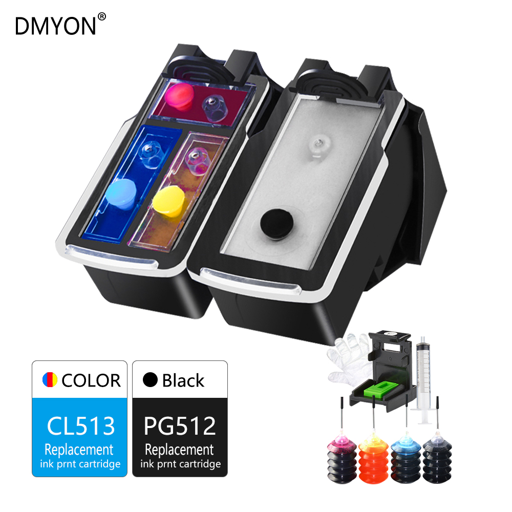 DMYON Refillable Ink Cartridge Replacement for Canon PG512 CL513 XL MP240 MP250 MP252 MP260 MP270 MP280