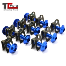 10Pcs/Set Quality Motorcycle M6 6mm Fairing Bolts Fastener Clips Screw Spring Nuts Accessories Metal Nuts & Bolts Motorcycle