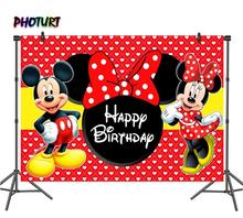 PHOTURT Mickey Minnie Mouse Photography Backdrops Birthday Party Valentines Bow Background Red Dots Vinyl Photo Studios Props