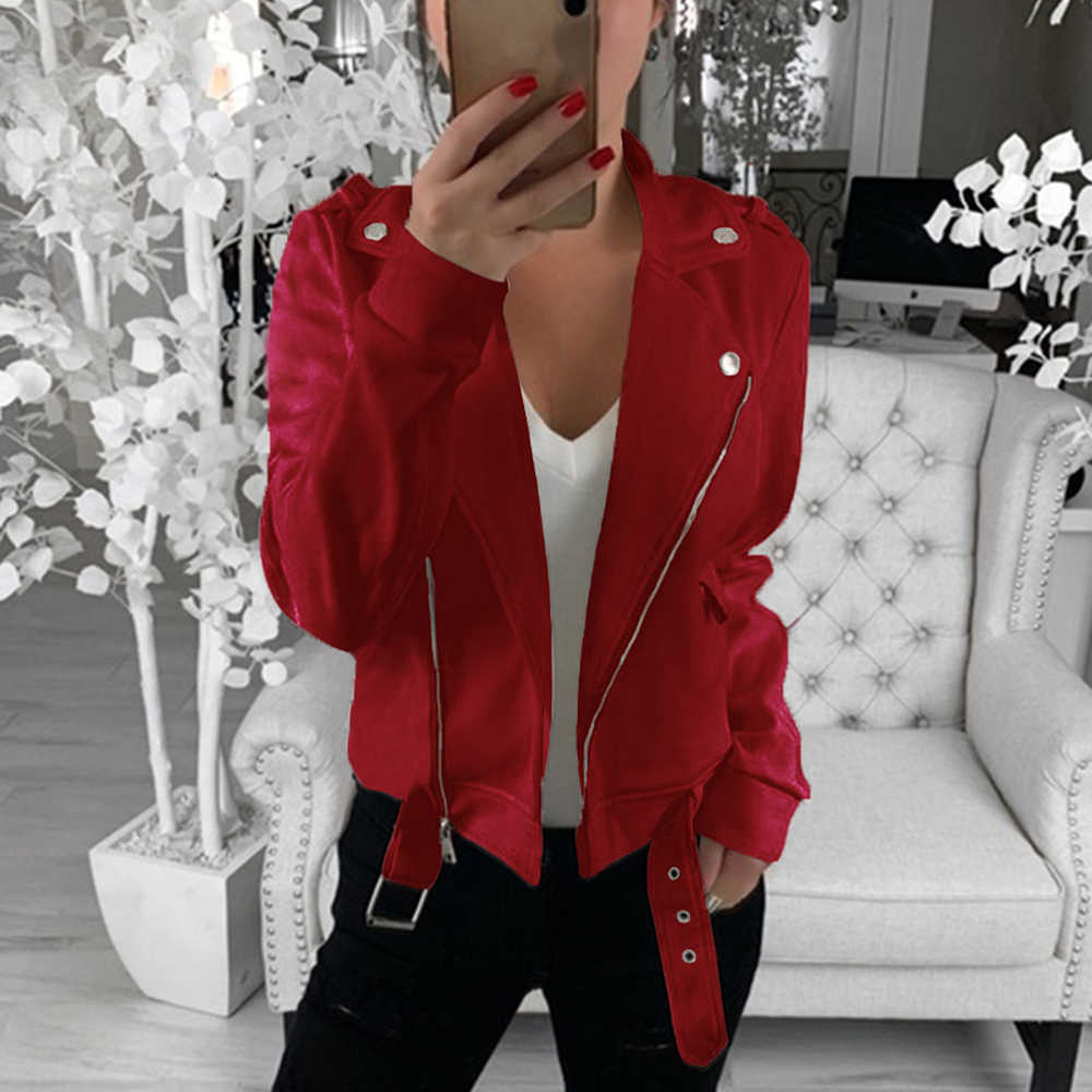 Fashion Women Motercycle Jacket Faux Leather Coat HipHop Outwear Streetwear Zipper With Belt Lapel Chaqueta Mujer Jaqueta Autumn