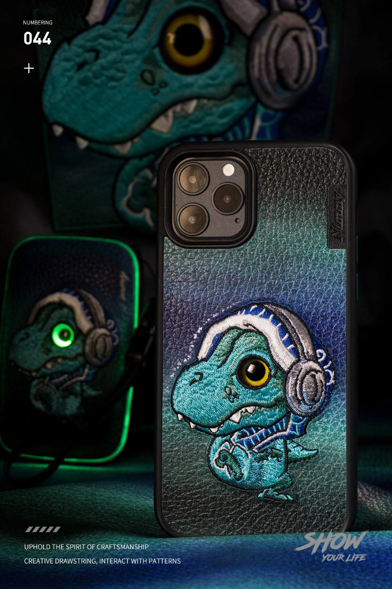 3D Embroidery Cartoon Monster Case For Iphone 11 12 Pro Max Mini 7 8 Plus XR X XS MAX Cute Cover