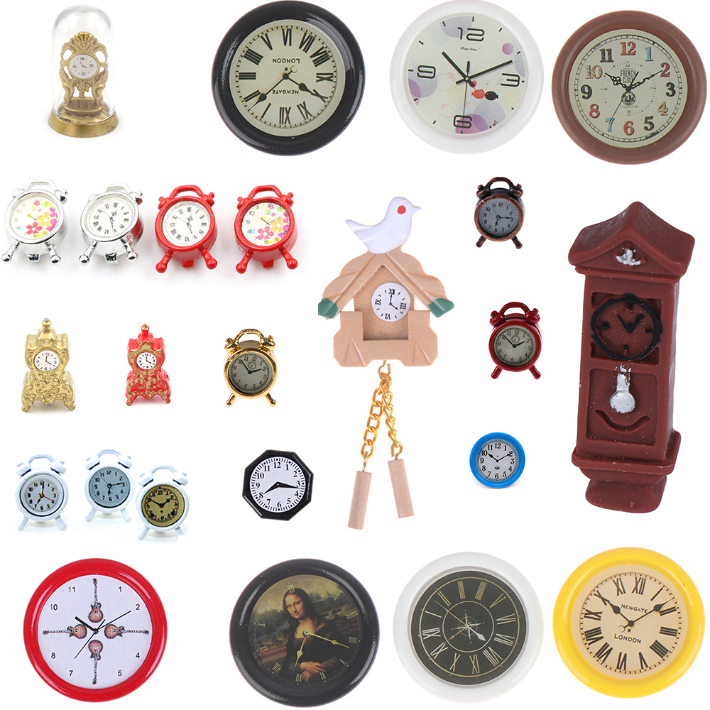 <font><b>1:12</b></font> Scale <font><b>Dollhouse</b></font> Miniature Wall Clock Play Doll House <font><b>Miniaturas</b></font> Home Decor Accessories Toy Pretend Play Furniture Toy image
