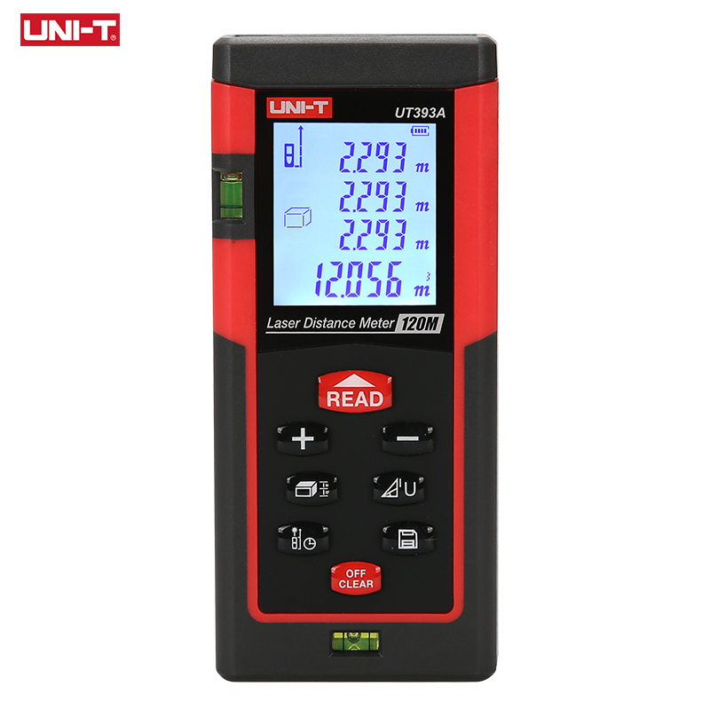 UNI T UT393A Laser Rangefinder 120m Dual Level Bubble Range Finder Digital Laser Distance Meter Trena Laser Measure Build Tool|Laser Rangefinders|Tools - title=