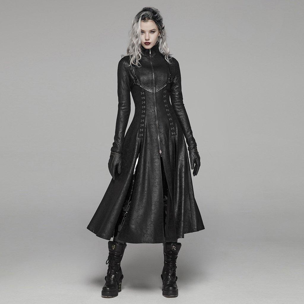 Женское длинное пальто в стиле панк, длинное пальто в стиле панк, ретро, на молнии спереди, с воротником стойкой, длинное пальто в стиле панк
