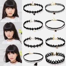 1pc moda meninas bonitas preto multi camada colar de renda crianças requintado gothic estiramento gargantilha moda jóias crianças colar
