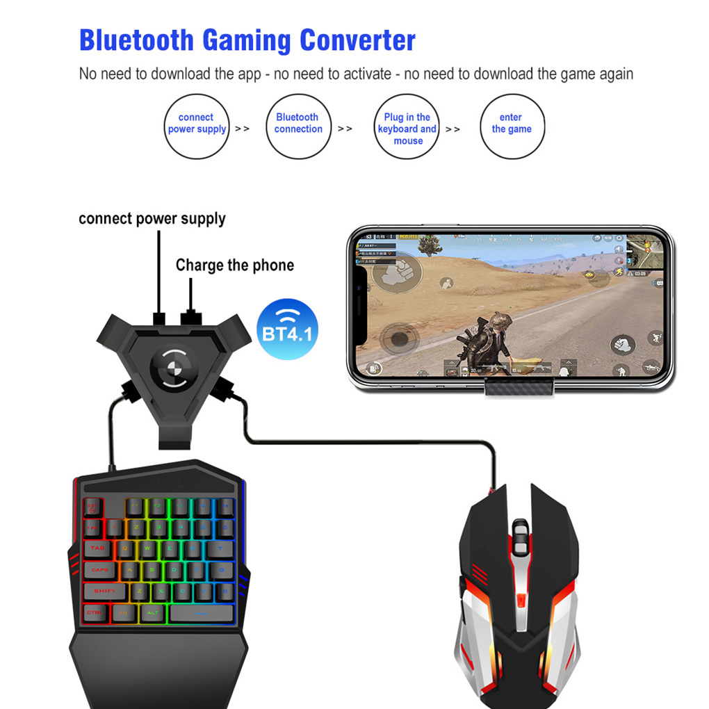 Mobile Phone Gamepad Controller Gaming <font><b>Keyboard</b></font> Mouse <font><b>Converter</b></font> <font><b>Bluetooth</b></font> 5.0 Gamer Adapter image