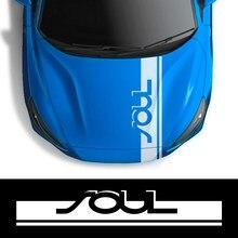 Película de vinilo para coche, calcomanías de Cinta Larga, cubierta de capó de carreras, pegatinas para Kia Soul, diseño deportivo, accesorios de decoración de automóviles