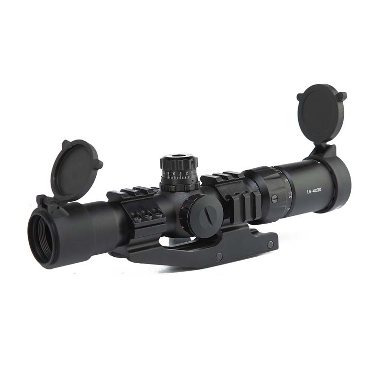 Ar15 Parts Tactical Optic Rifle Scope 1.5-4x30 Tactical Riflescope Sight Green Red  Hunting Scopes Scope Sniper Airsoft Air Gun
