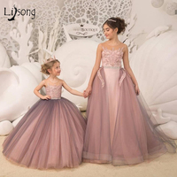 Dusty Pink Long Tulle Flower Girl Dresses With Detachable Train Little Girls Gown Wedding Banquet Pageant Dresses For Girl