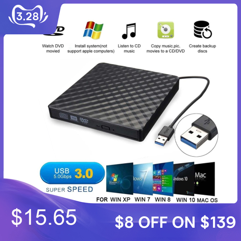 USB 3.0 External Slim DVD RW CD Optical Drive Writer Drive Burner Disk Reader DVD Player For Laptop PC Windows XP
