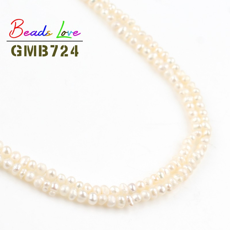 2.5-3mm Natural Round White Freshwater Pearl Beads for Needlework Jewelry Making Handmade DIY Bracelet Earrings Necklace 15 Inch