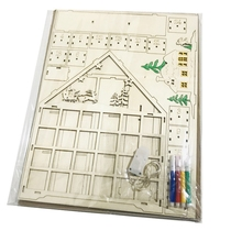 Advent-Calendar Decoration Wood Day-Theme Advanced Holiday 100%Wooden-Structure Cute
