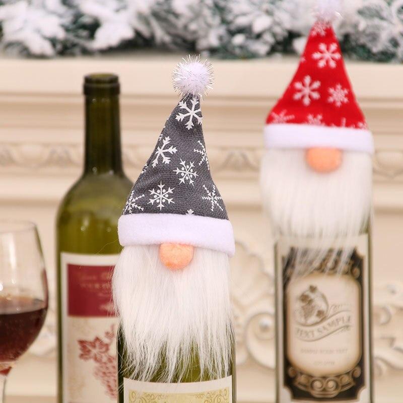 Cubierta decorativa para botella de vino de Papá Noel, bonito gorro de Navidad, bolsas para botellas, decoración de Navidad, adorno para mesas